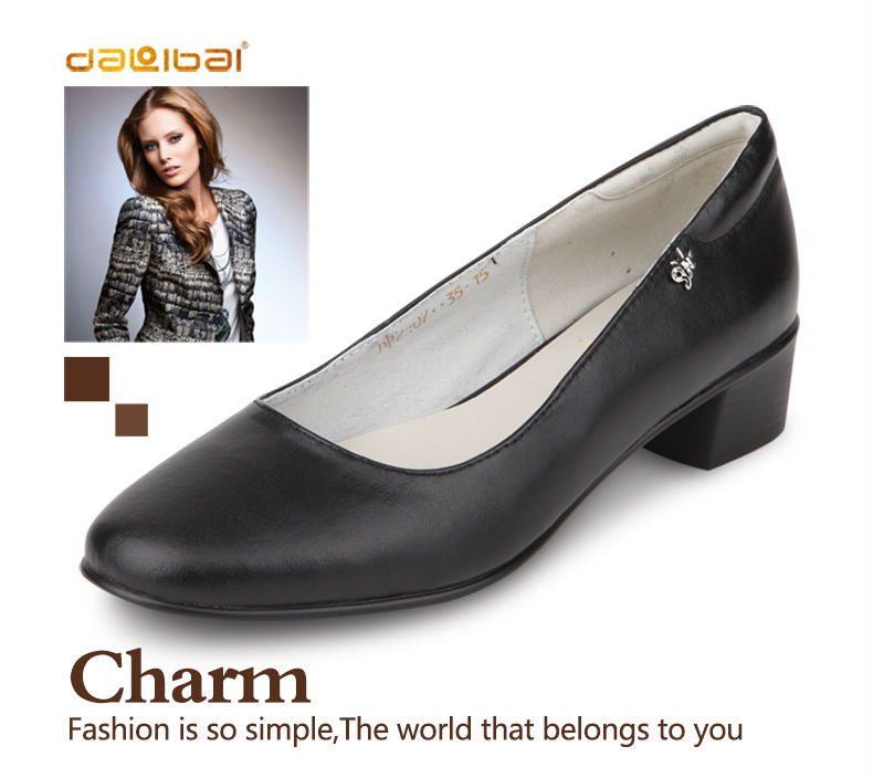 low square heel office shoes black leather