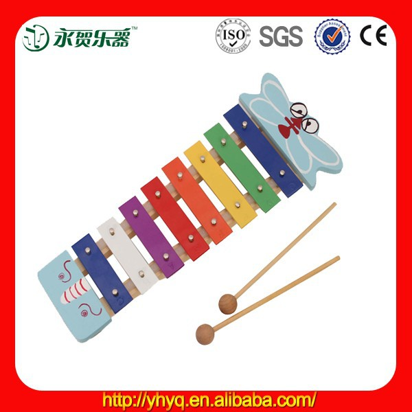 Kids Educational Musical Toy <span class=keywords><strong>Cartoon</strong></span> Butterfly Wooden Toy Xylophone