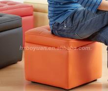 modern furniture design cube leather storage stool