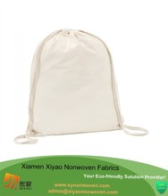 White drawstring backpack cotton bag - SCHOOL GYM PE BOOK BAGS - ECO