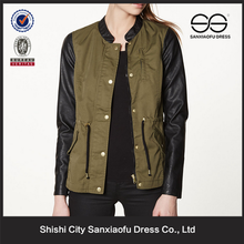 Wholesale Fashion Denim Jacket Leather Sleeves, Custom Green Womens Leather Sleeves Jacket