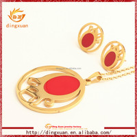 2015 new arrival round design gold plated wholesale fashion jewelry set
