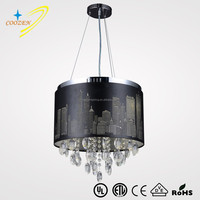 GZ10014-30W City night laser cut metal lamp shade with crystal decoration pendant light