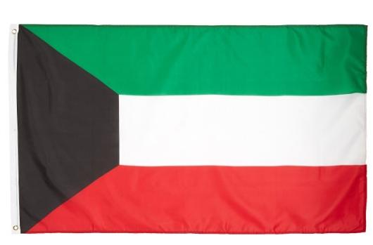 Personnalisé grand 100*75 cm soie satin polyester pays Arabe Koweït Drapeau national