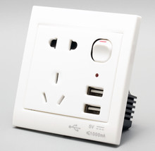 SINGLE 1 WAY GANG PLUG ELECTRIC WALL SOCKET SWITCHED SQUARE WITH 2 USB OUTLETS