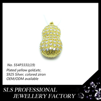 Fashion inlaying CZ arrounding 925 silver jewelry wholesale hip hop 14 gold peanut charms
