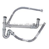 V08-B2-B Double bowl sink Plastic strainer pipe