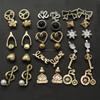 Fashion Stud Earrings Acrylic Pear Crystal Gold Alloy multiple Earring Set