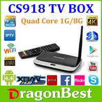 Cheap cs918 Quad Core 1GB RAM bluetooth skype google smart Android 4.4 Smart TV Box