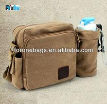 Top sale strap cotton medical shoulder bag with water bottle holder