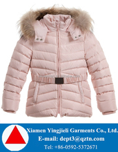 Faux fur removable hood children puffer jackets with belt
