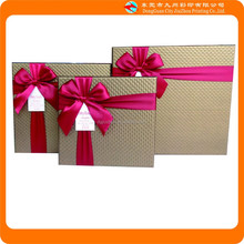 2015 Hot sale red ribbon gold gift packaging boxes