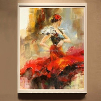 High Skills Artist Hand-painted High Quality Abstract Spanish Dancer Oil Painting On Canvas Spanish Flamenco Dance Oil Paintings