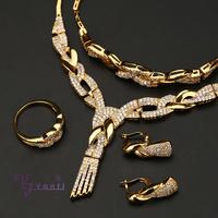 dubai new design arabic bridal copper cz 18k gold plated jewelry sets