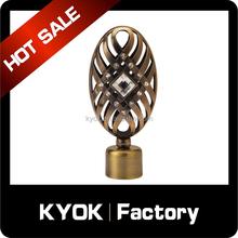 KYOK Flat oval diamond curtain tube finial, classical desgin home decor pipe end/cap, Muslim curtain rod wholesale