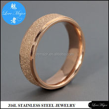 2012 rose gold sand blasting tainless steel ring of fashion jewelry wedding band