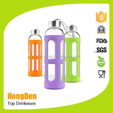Borosilicate BPA Free Heat-Resistant Sports Glass Water Bottle/silicone sleeve water bottle/glass bottle for juice