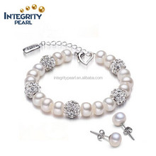 2015 extension chain 7mm AAA button freshwater earrings and pearl bracelet set