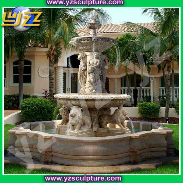 Grand Jardin Fontaine En Marbre Avec Regious Figure Et