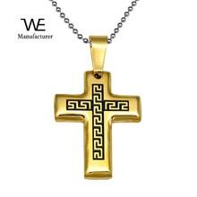 Stainless Steel Charm Roman Patterned Cross Pendant Enamel Crucifix Men