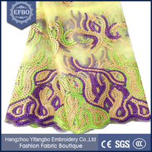 Mesh embroidery french chemical sequin lace fabric / good quality cheap dubai french lace fabric for birthday dresses 2016