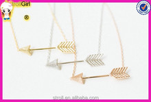 2015 new design bow and arrow jewelry silver in necklace and fortune arrow necklace