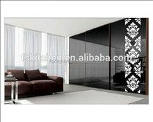 Eurupean style black texture glass wardrobe gw159