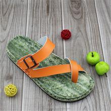 PU upper EVA metal button fashion flat summer sandals 2014 for women