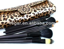 professional! 12 pcs leopard brush set wool makeup brushes