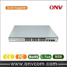 Quiet and Compact /RJ45, OEM 24 Port 10/100mbps Poe Switch+2 SFP Gigabit Combo poe