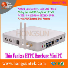 HT730A HTPC Case Intel Celeron 1037U 1.80Ghz Dual Core 2 Threads Processor Fanless Mini Barebone PC, USB2.0, USB3.0, WiFi, VGA