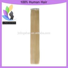 Mejor Calidad de cabello humano virginal de europeas , Extensiones de cabello con cinta, precios de venta al por mayor