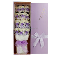 China factory Low MOQ purple stuffed teddy bear bouquet fashion valentine gift plush toy bouquet