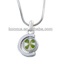 Half circle shaped four leaf clover lucky necklace jewelry