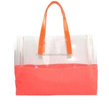 Fashion summer style ladies PVC beach handbag clear transparent tote bag