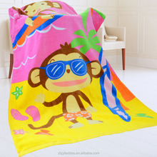 100% Cotton Velour Customized reactive printed beach towels cartoon beach towel----baby monkey on beach -pink