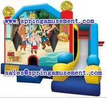Cheap and hot selling inflatable combo inflatable bouncer and slide with happy beach printing for kids SP-C7017