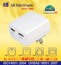 Customerized 2 USB port imprint smart phone travel charger Energy Star Level VI