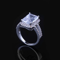 2015 The new high-end jewelry fashion classic square zircon female factory wholesale color diamond ring