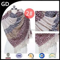 GDKK0055 beautiful big striped snow dotds woolen yarn blanket scarf