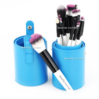 Beauties Factory 18pcs Makeup Brushes Blue Leather Brush Stand (IE)