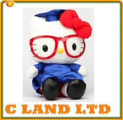 CE/ASTM safety stardard plush graduation hello kitty kid toy