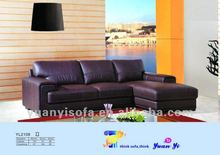 YL2108 living room sectional sofa, leather sectional collection in brown leather