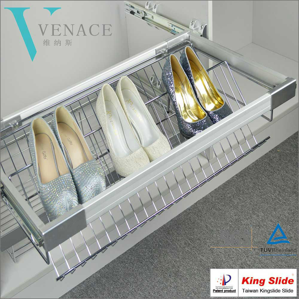 Wardrobe Soft Close Pull Out Shoe Rack With Kingslide