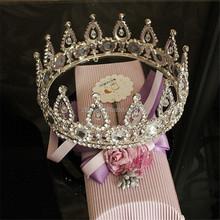 Retro Style Large Size Round Full Circle 18 K White Gold Plated Bridal Wedding Crown Tiaras