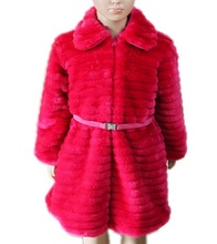 kids girl roses long winter warm coat with pink belt
