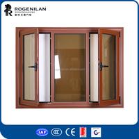 Rogenilan wooden color tilt turn aluminum window designs indian style