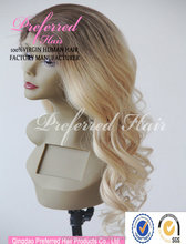 Made in Alibaba China ocean wave 22inch long blonde real European human hair full lace wig