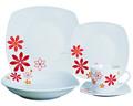 Jogo de jantar branca placas, jantar de porcelana conjunto, jogo de jantar quadrado de porcelana vermelha