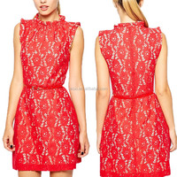 2015 newest red wrinkle neck and belt lace ladies american girls without dress photos evening dress